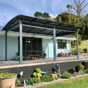 Small deck with pergola awning