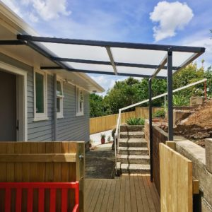 Mono-pitch Pergola over outdoor deck
