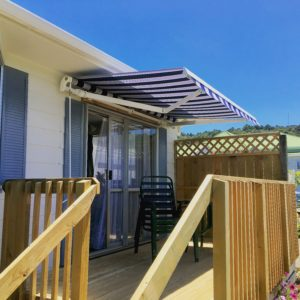 Small wooden deck with Llaza Monobloc 3m x 2m awning
