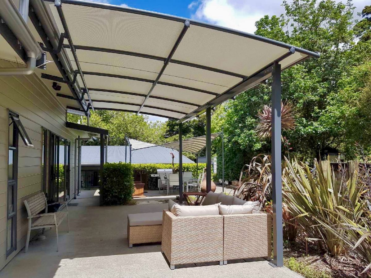 Pergola Awning over outdoor patio area