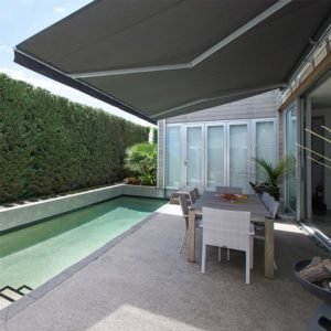 Pool area with Horizon Monobloc 4m x 2.5m awning